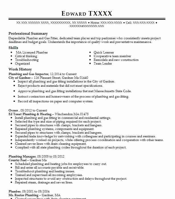 plumbing inspector resume sample