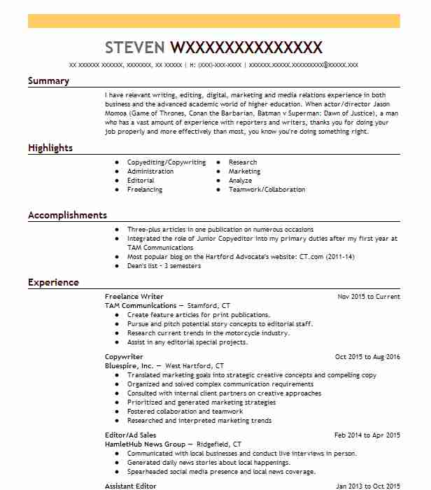 Copywriter And Editor Objectives | Resume Objective | LiveCareer