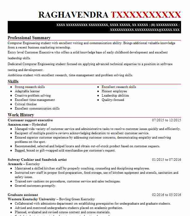 customer support executive resume
