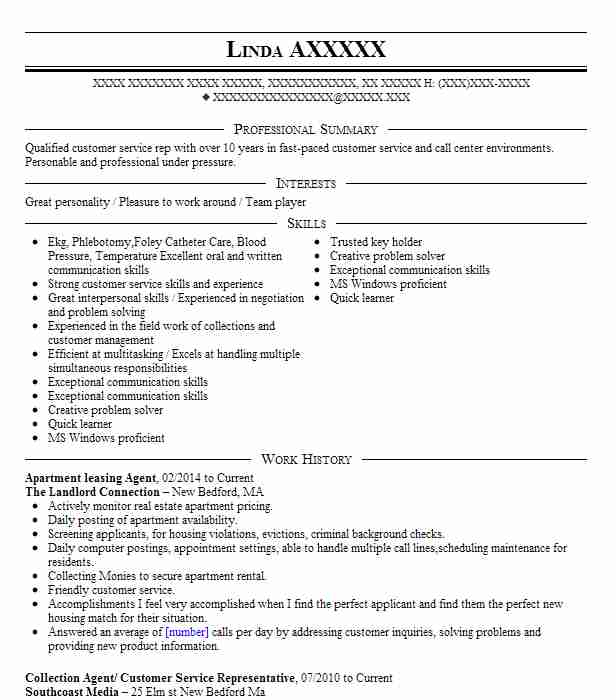 leasing agent resume objective examples