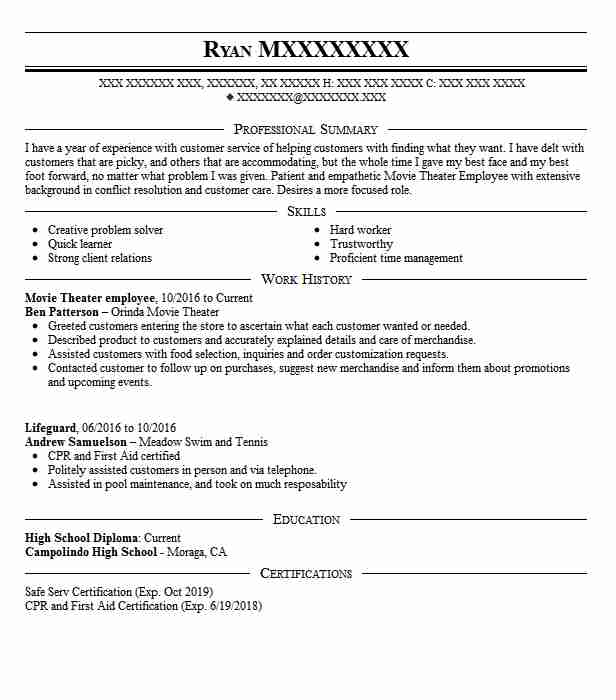movie theater usher sample resume