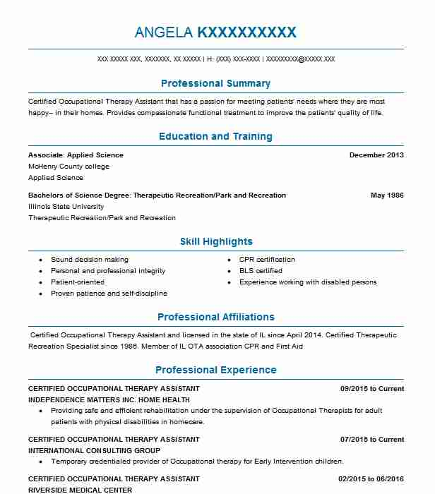 sample resume of occupational therapy assistant