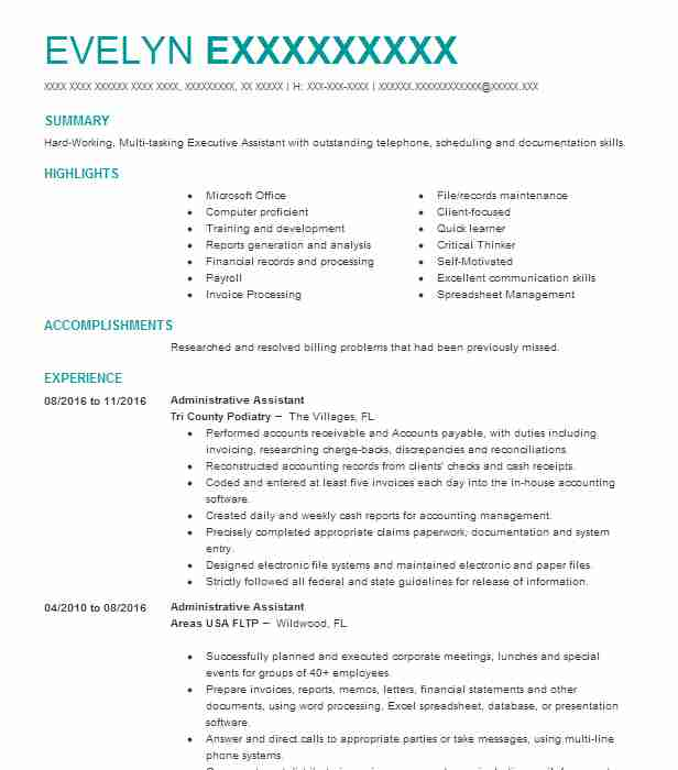 resume career objective examples administrative assistant