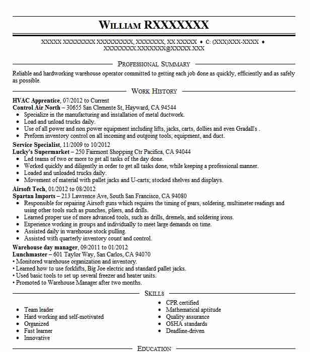 Hvac Apprentice Resume Sample  Apprentice Resumes  LiveCareer