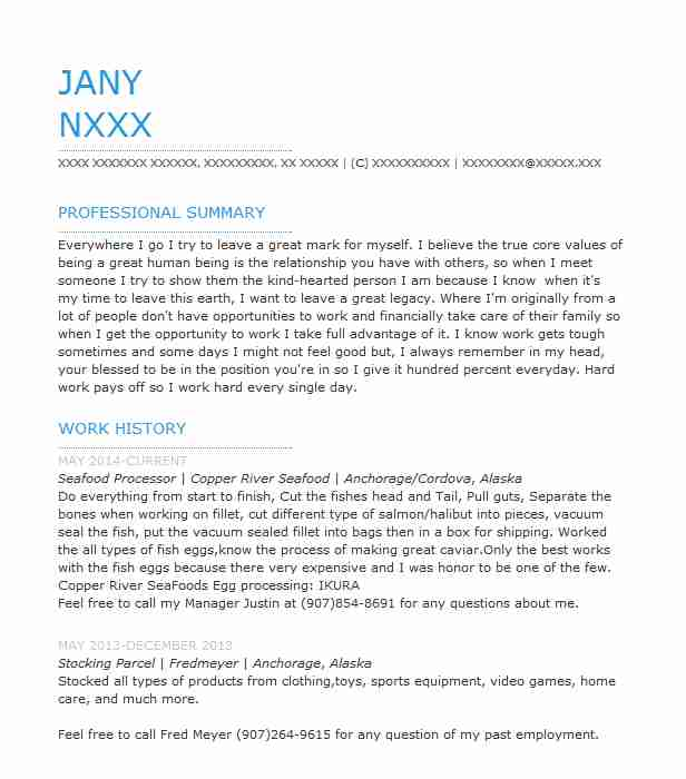 Cover Letter Seafood Clerk