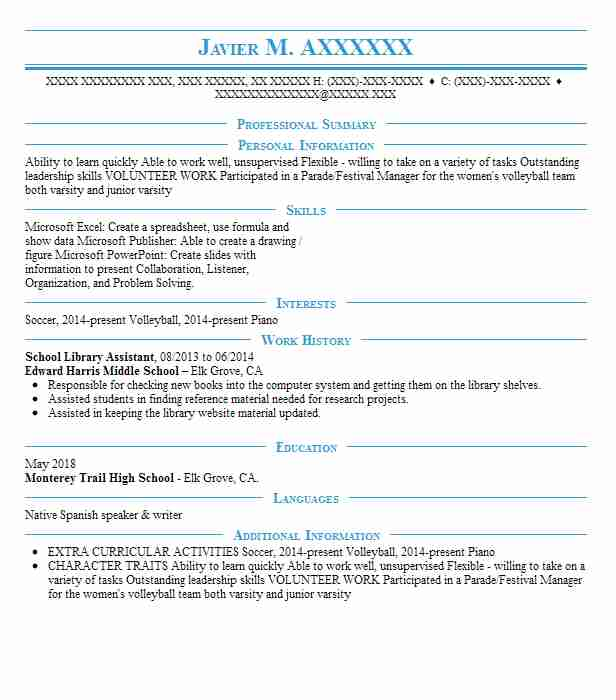 Library Aide Sample Resume