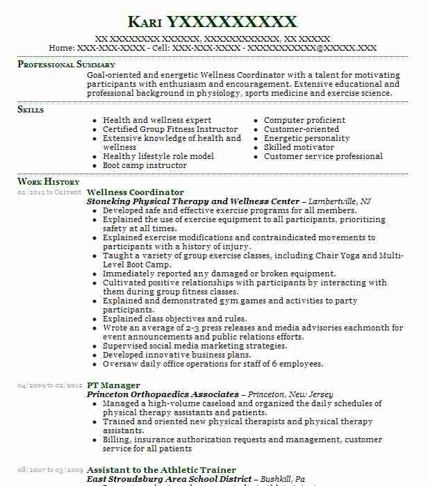 Recreation Coordinator Resume