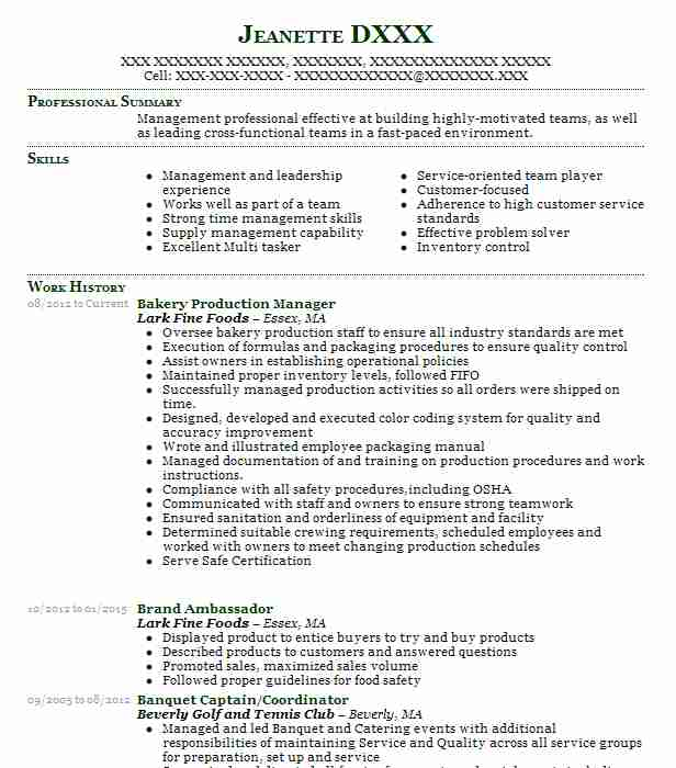 bakery manager sample resumes