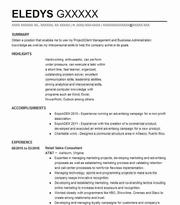 resume samples for retail sales consultant t mobile