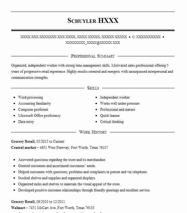 resume summary skills examples for grocery