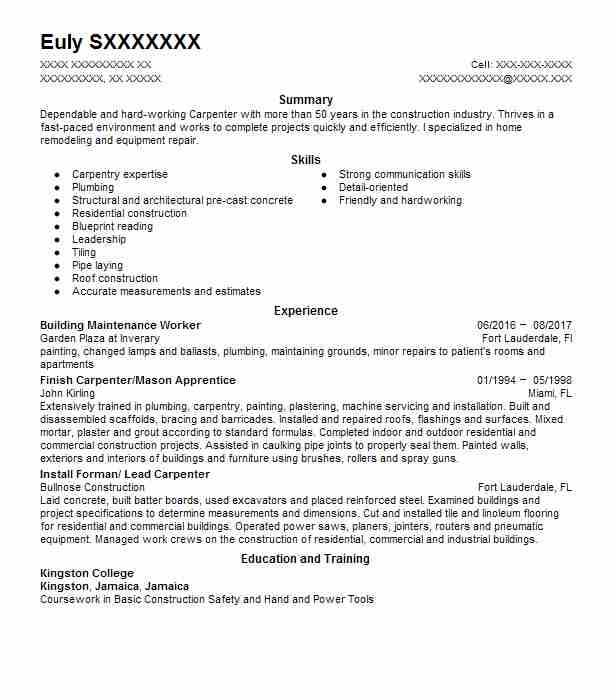 Building Maintenance Worker Resume Sample  LiveCareer