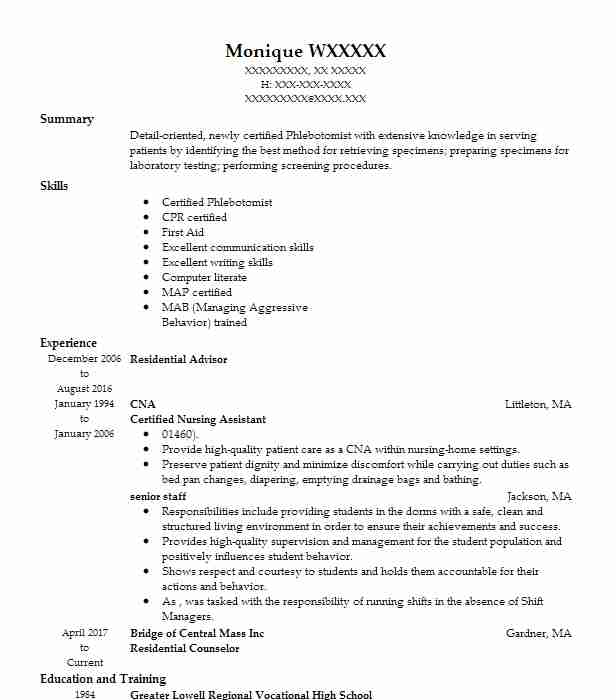 Find Resume Examples In Fitchburg Ma Livecareer