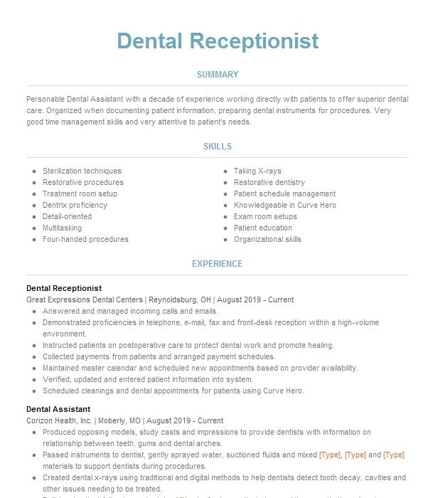 Floss and polish your dental assistant cover letter with our expert hints. Dentist Receptionist Resume Example Receptionist Resumes Livecareer