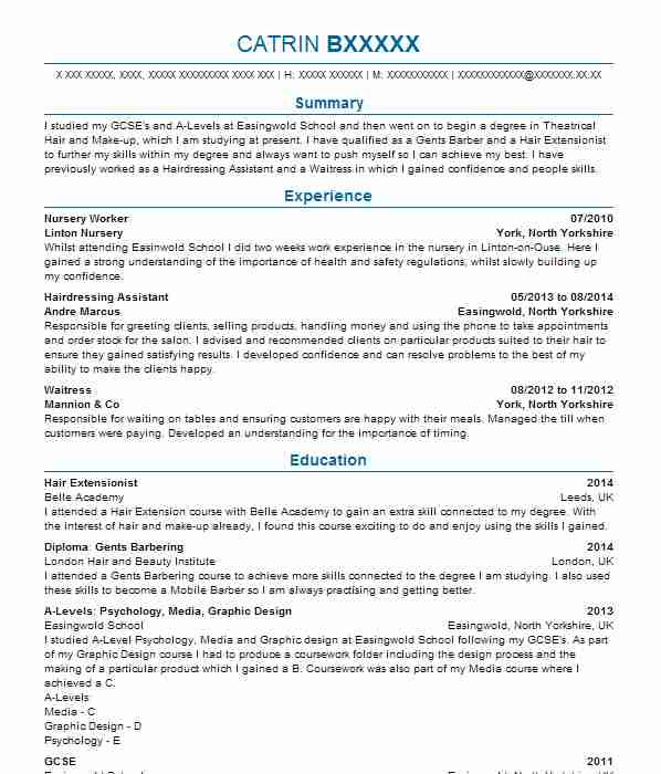 108 Barbers CV Examples Beauty And Spa CVs LiveCareer