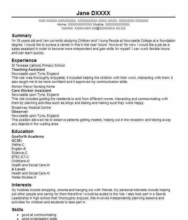 Volunteer Teaching Assistant CV Example Rectory Farm