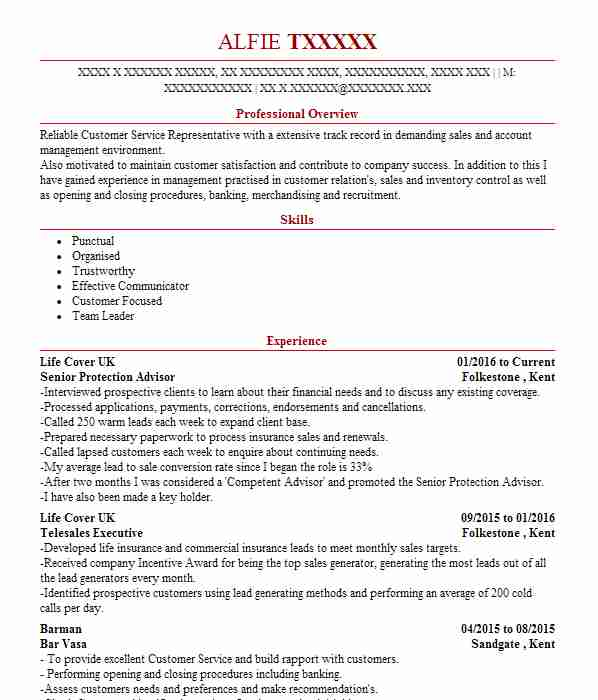 718 Insurance CV Examples  Templates  LiveCareer