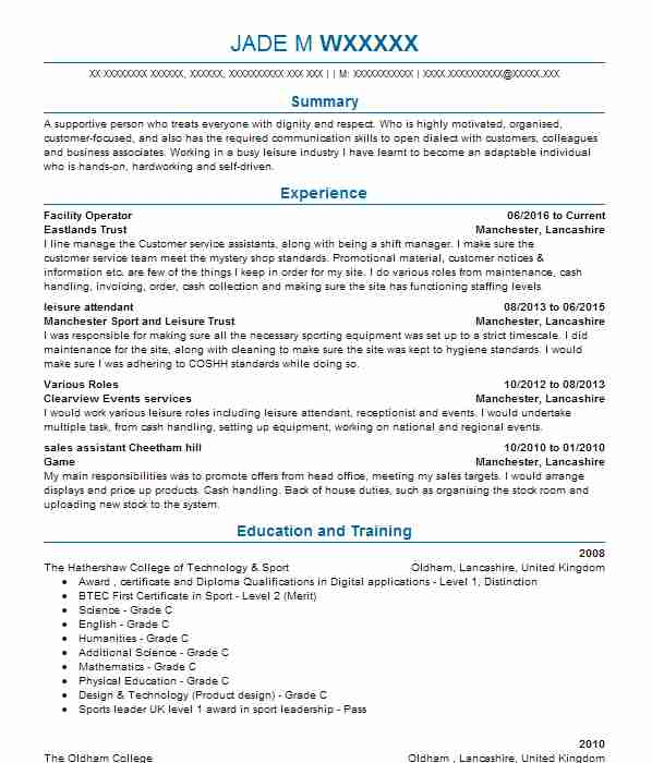 Venue Operations Manager CV Example Glasgow 2014