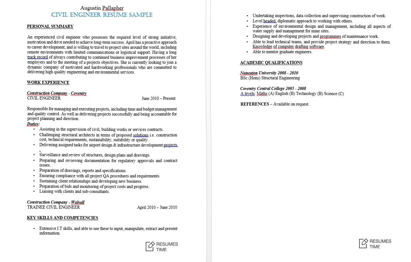 sample civil engineering land development resume