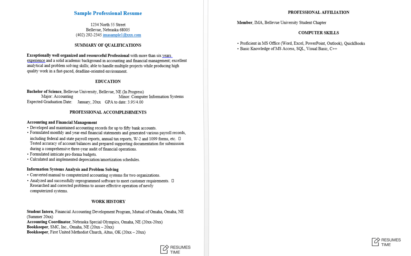 Example Of A Professional Resume 100 Free Resume Samples Examples At Resumestime