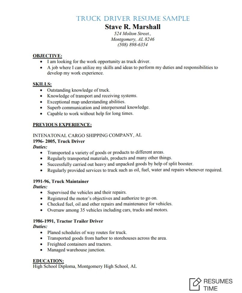 delivery driver resume samples