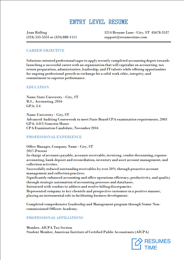 Entry Level Resume Samples Examples