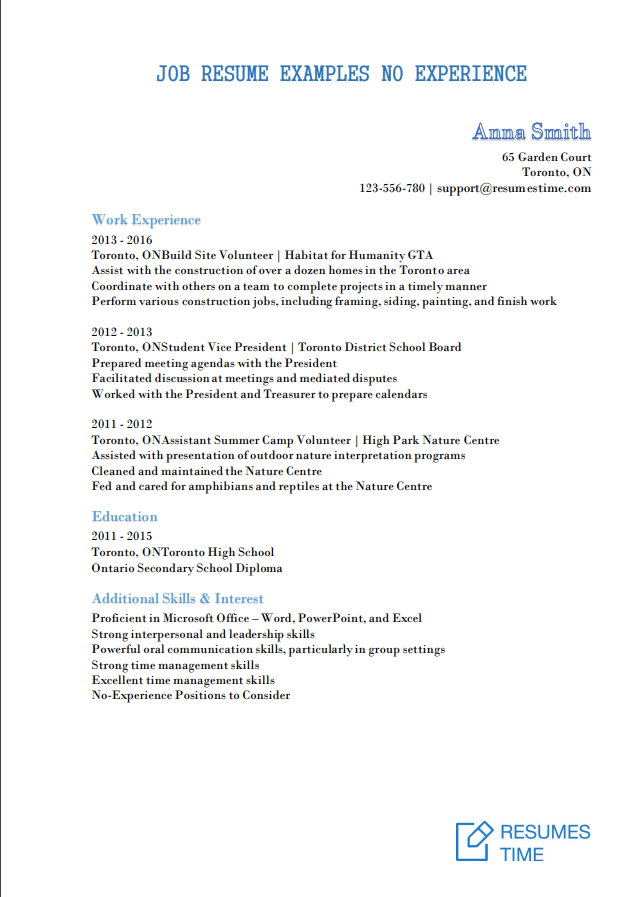 free first time resume with no experience samples