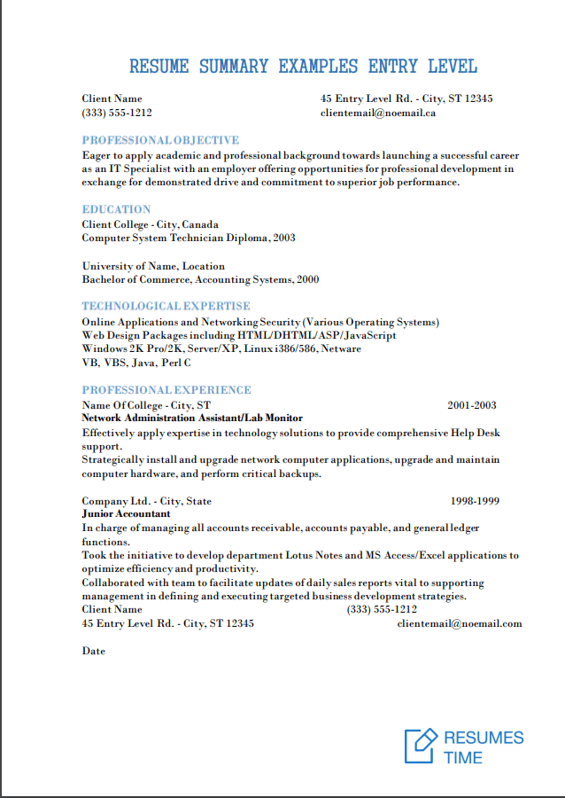 entry level resume qualification examples