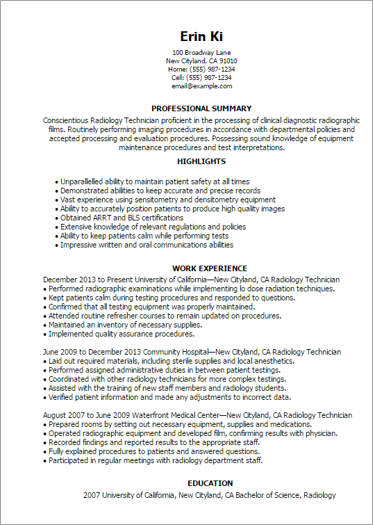 radiology resume examples