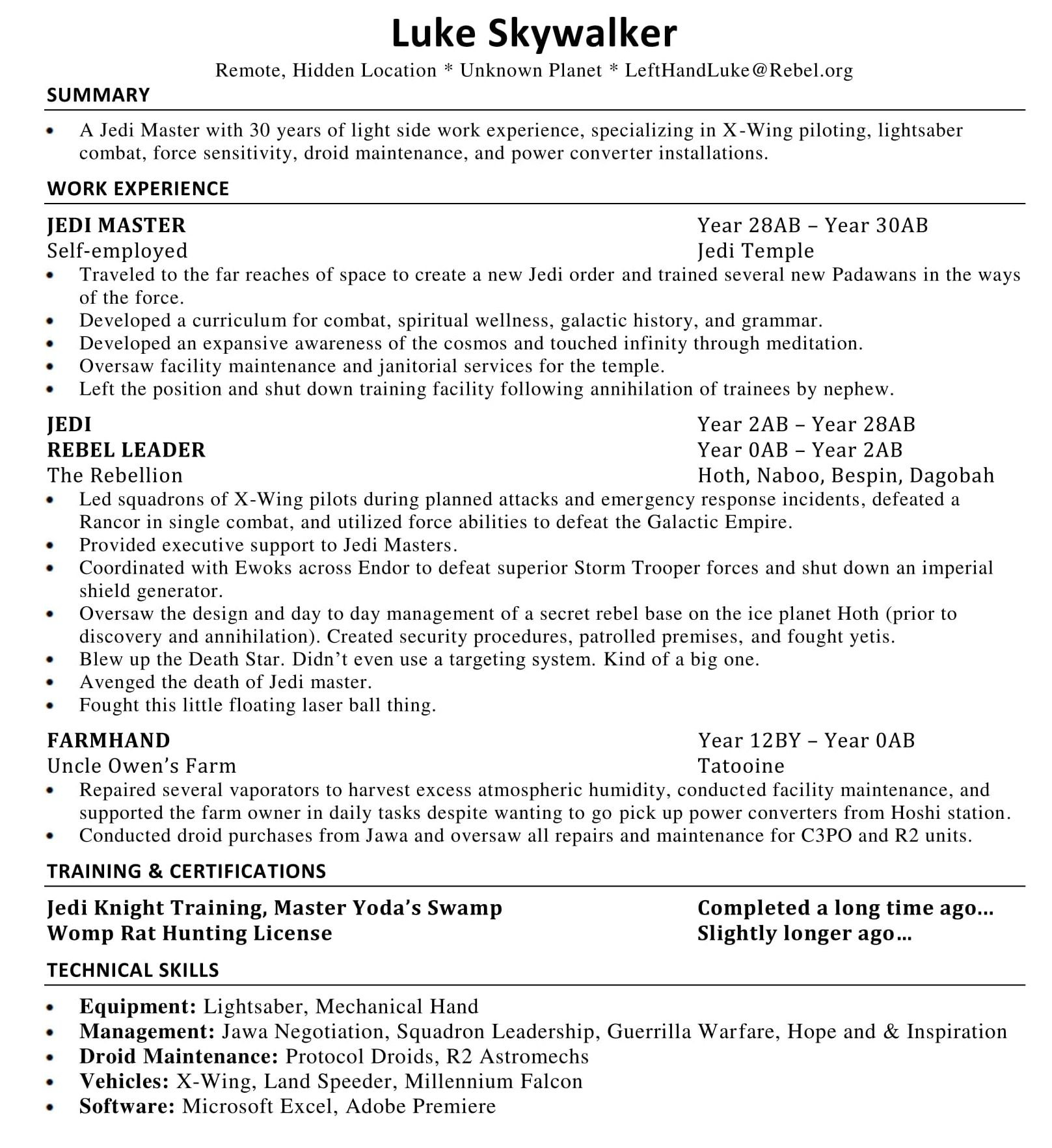 Guerrilla Resume Let S Critique Luke Skywalker S Resume Resume To Interviews