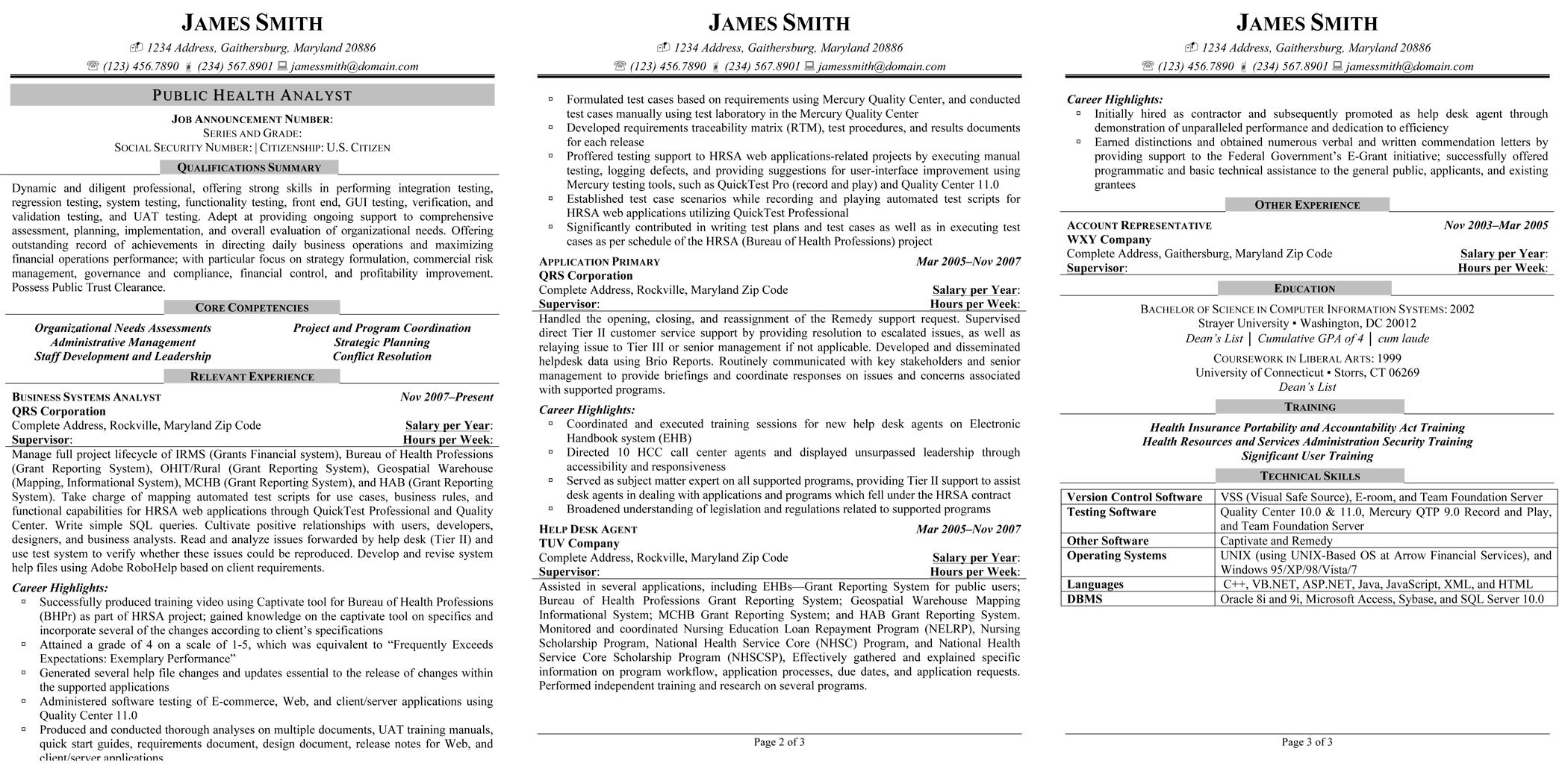 Federal Job Resume Sample Sample Civilian And Federal Resumes Resume Valley