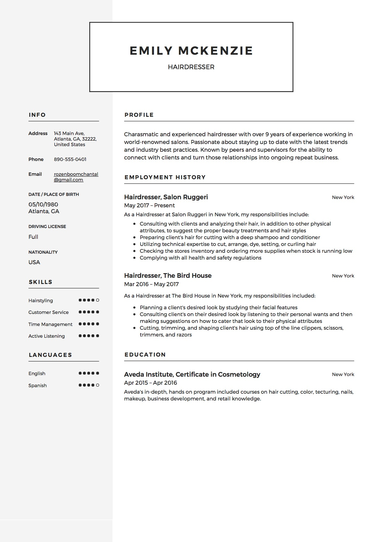 Hair Stylist Resumes 12 Free Hairdresser Resume Sample S 2018 Free Downloads