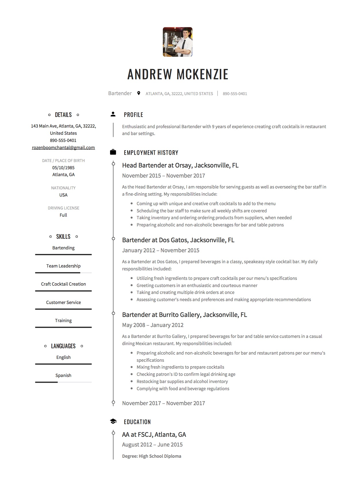 Bartender Resume Objective Samples Bartender Resume Bartending Resume Sample Sample