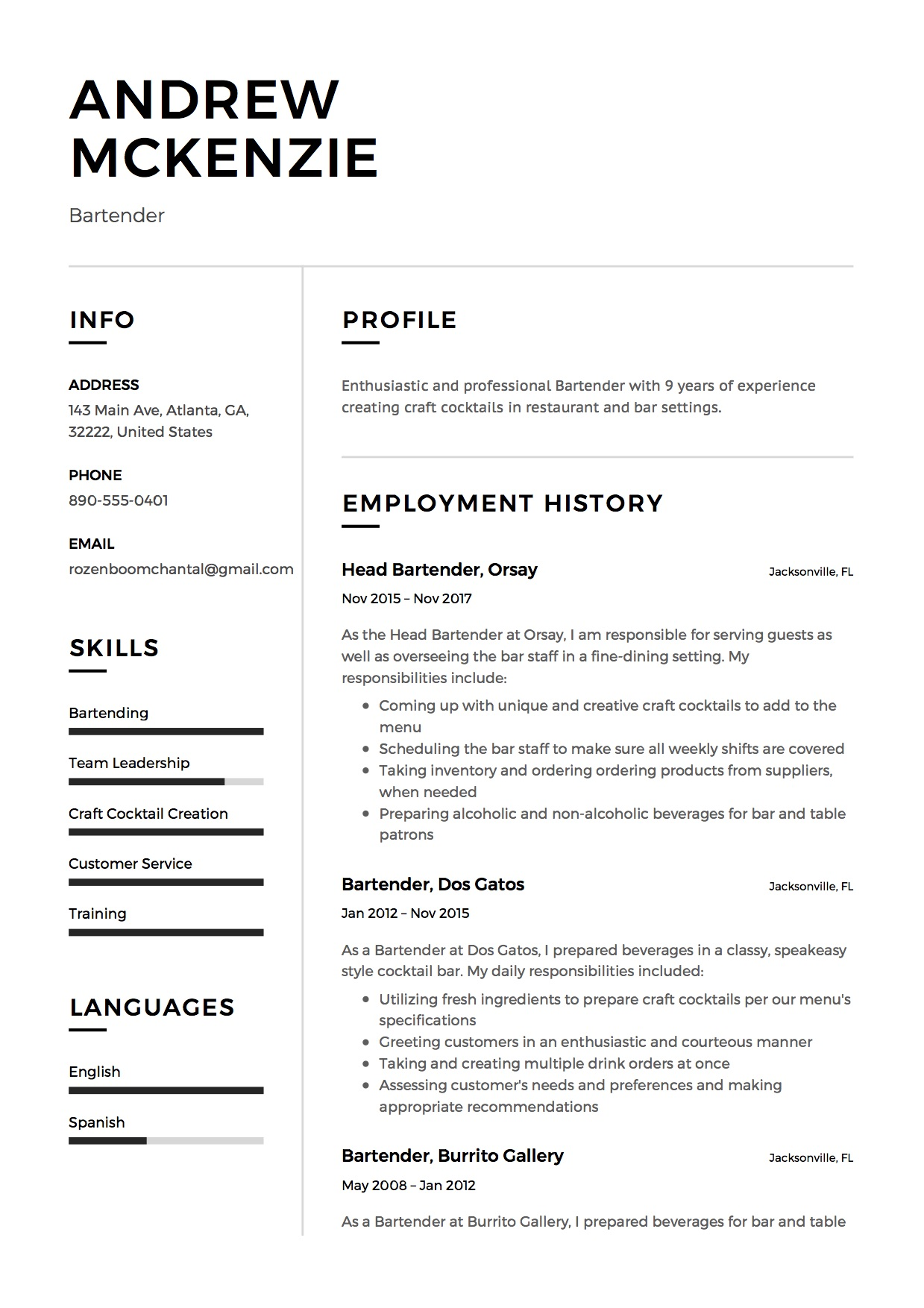 Unique Resume Samples Bartender Resume Sample 12 Creative Resume Examples 2018