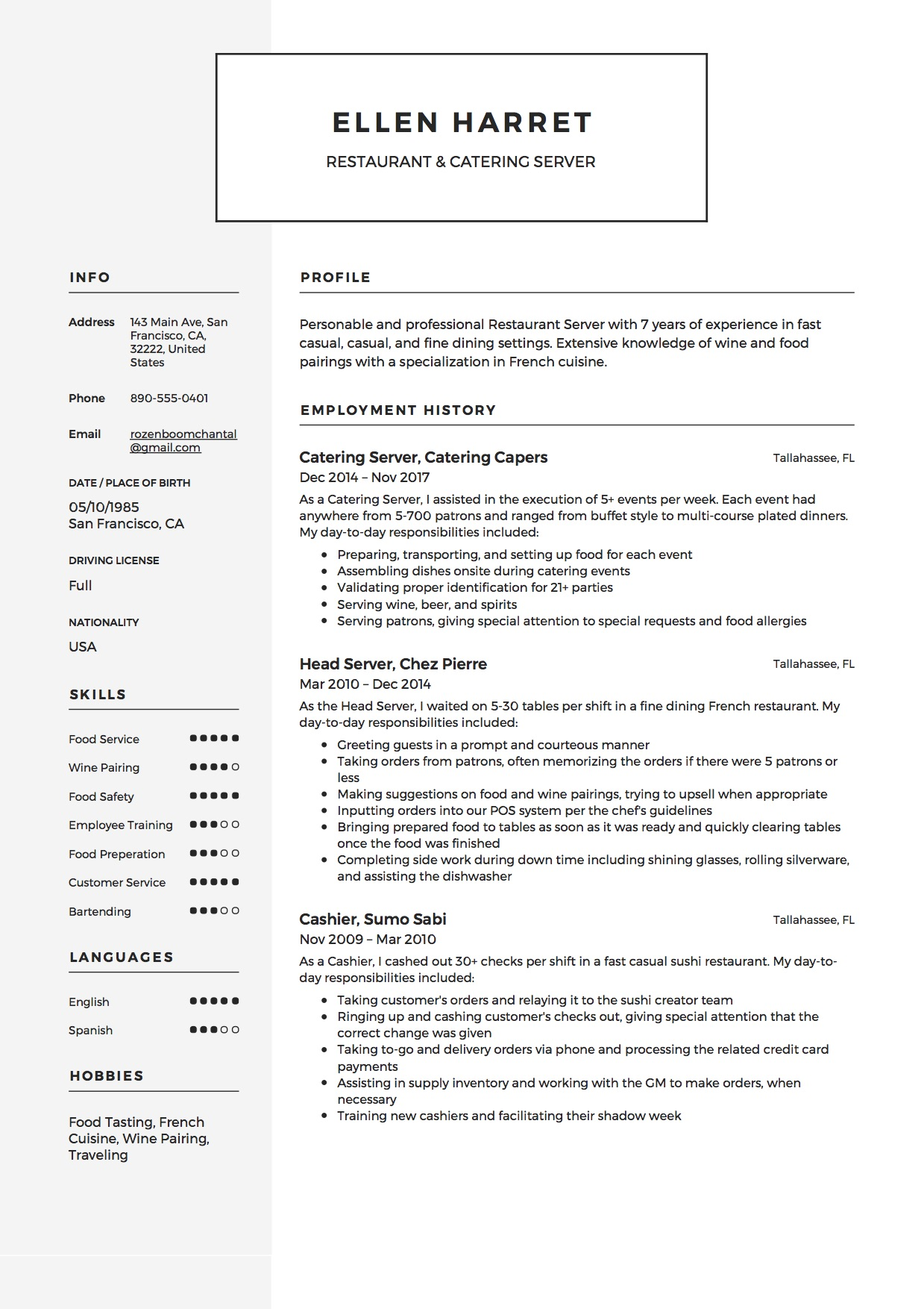 Skills For Restaurant Resume 12 Restaurant Server Resume Sample S 2018 Free Downloads