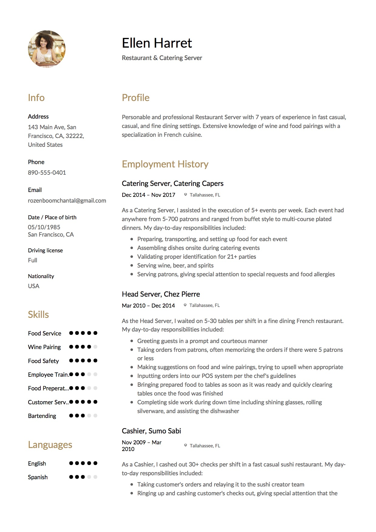 Resume Restaurant Server 12 Restaurant Server Resume Sample S 2018 Free Downloads