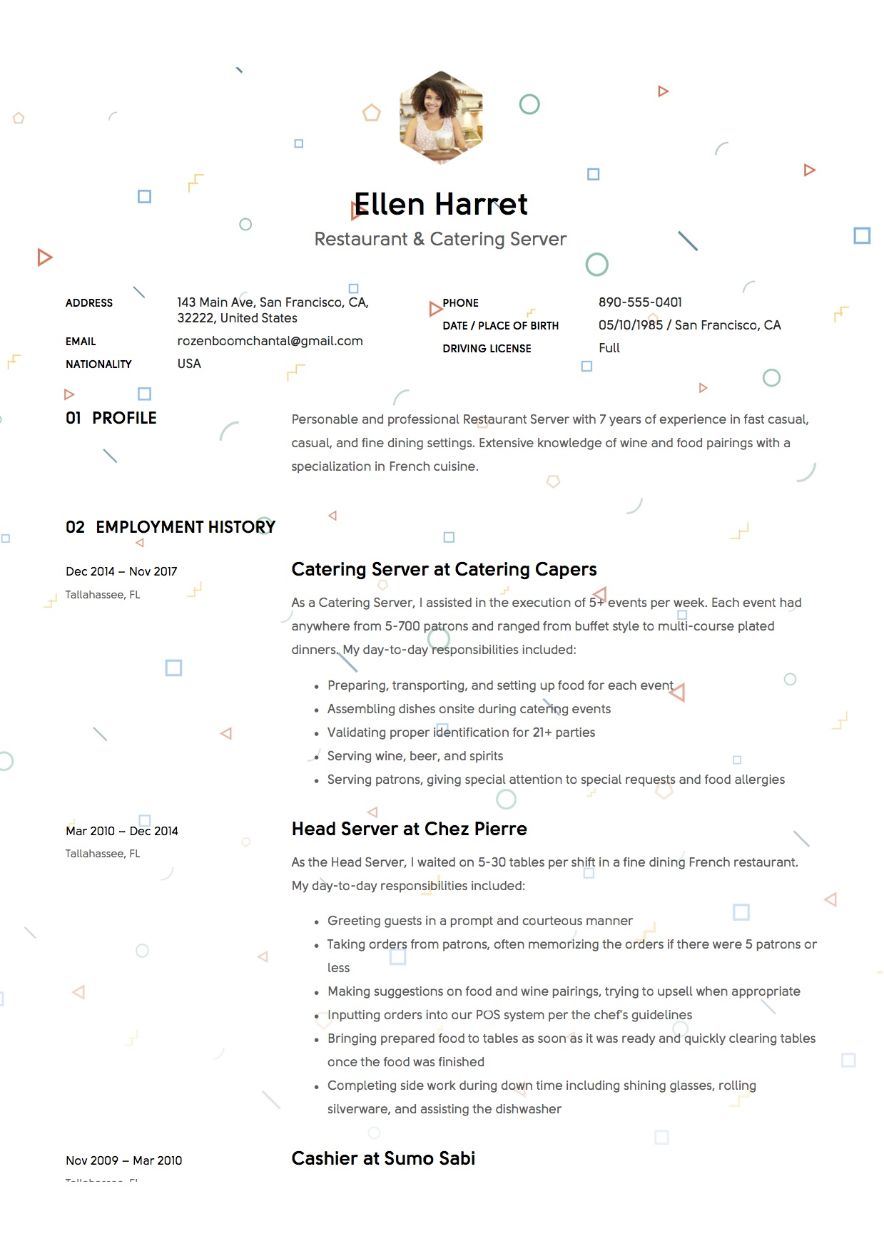 Resume Sample For Restaurant 12 Restaurant Server Resume Sample S 2018 Free Downloads