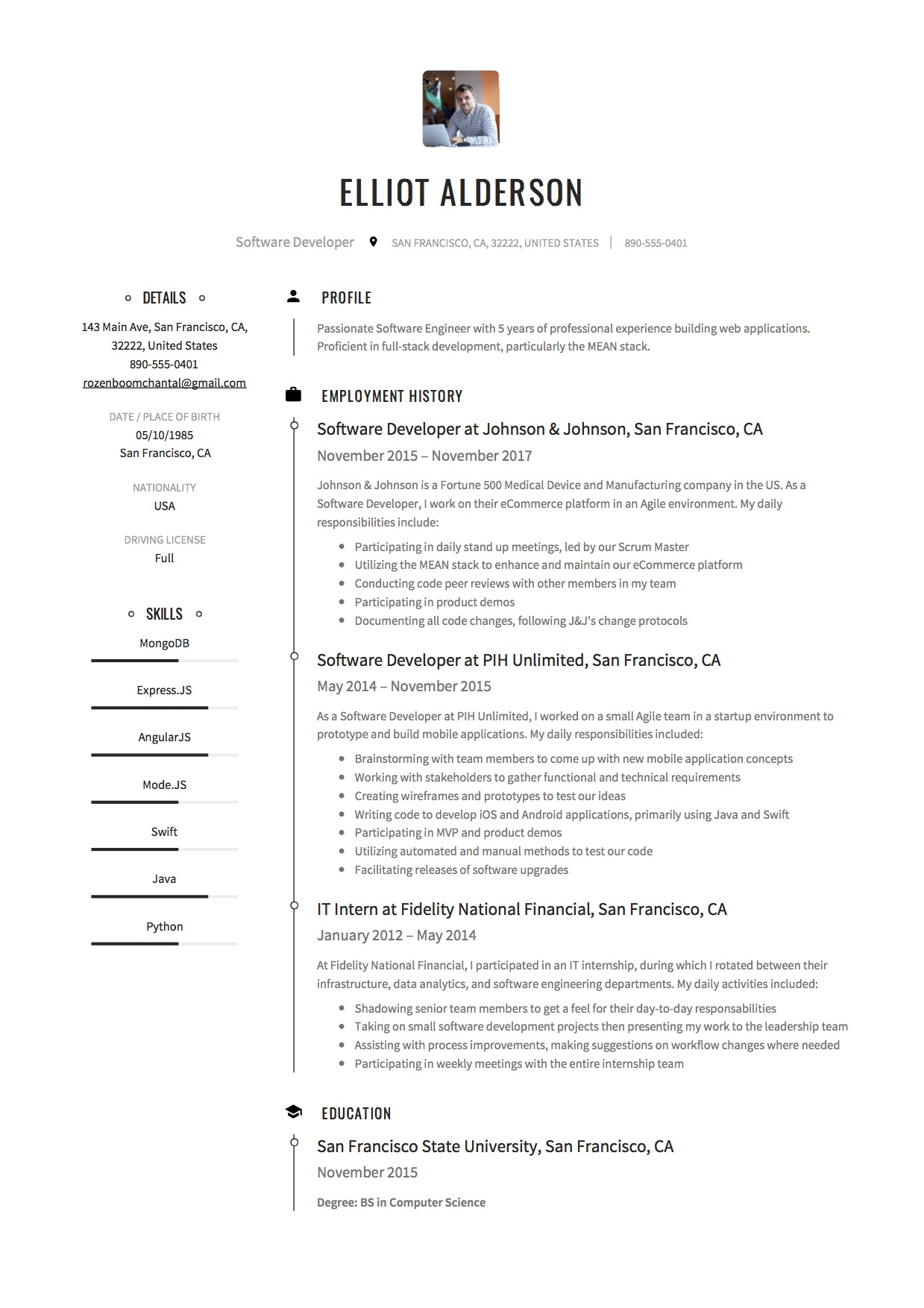 Resume Format For 1 Year Experienced Software Developer Software Developer Resume Example Ideasplataforma