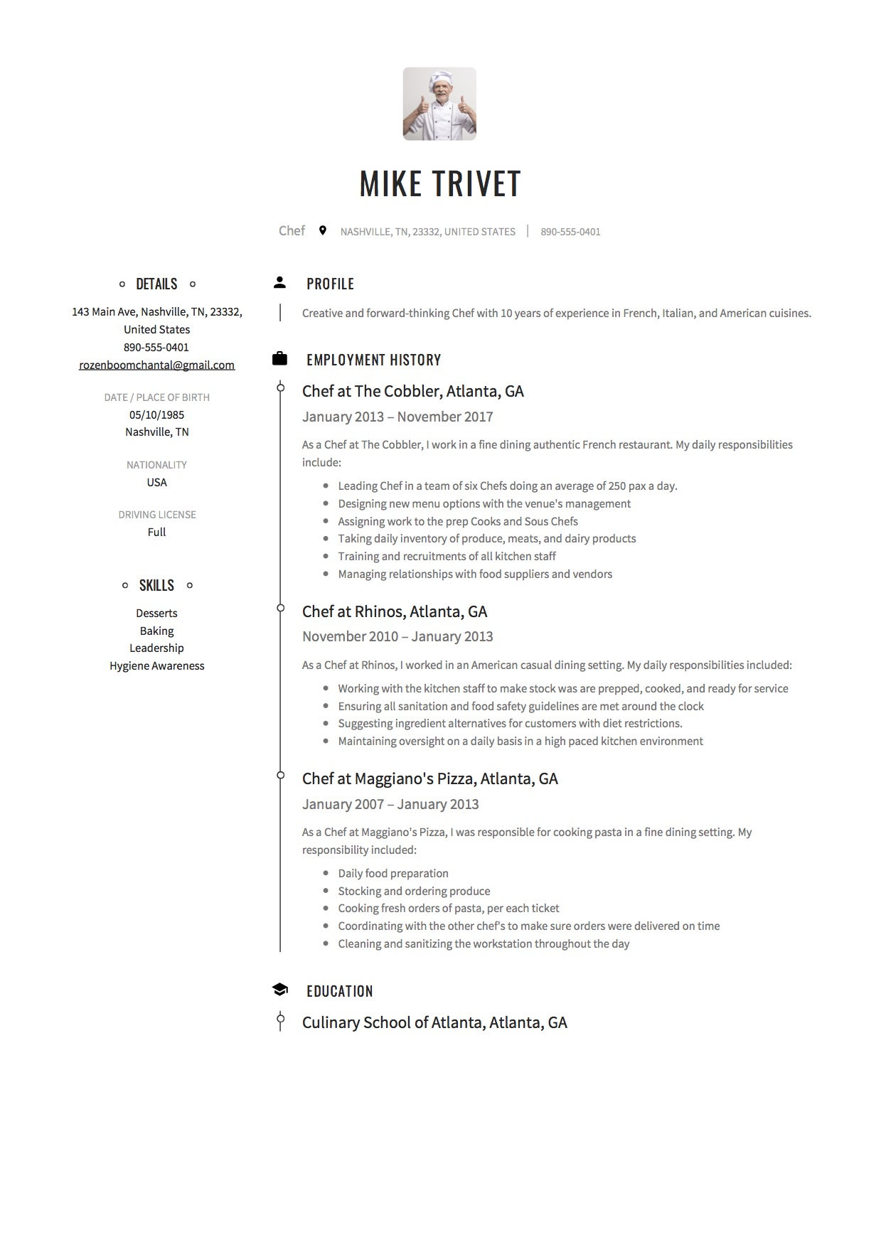 Pantry Chef Cover Letter Full Guide Chef Resume 12 Samples Pdf Word 2019