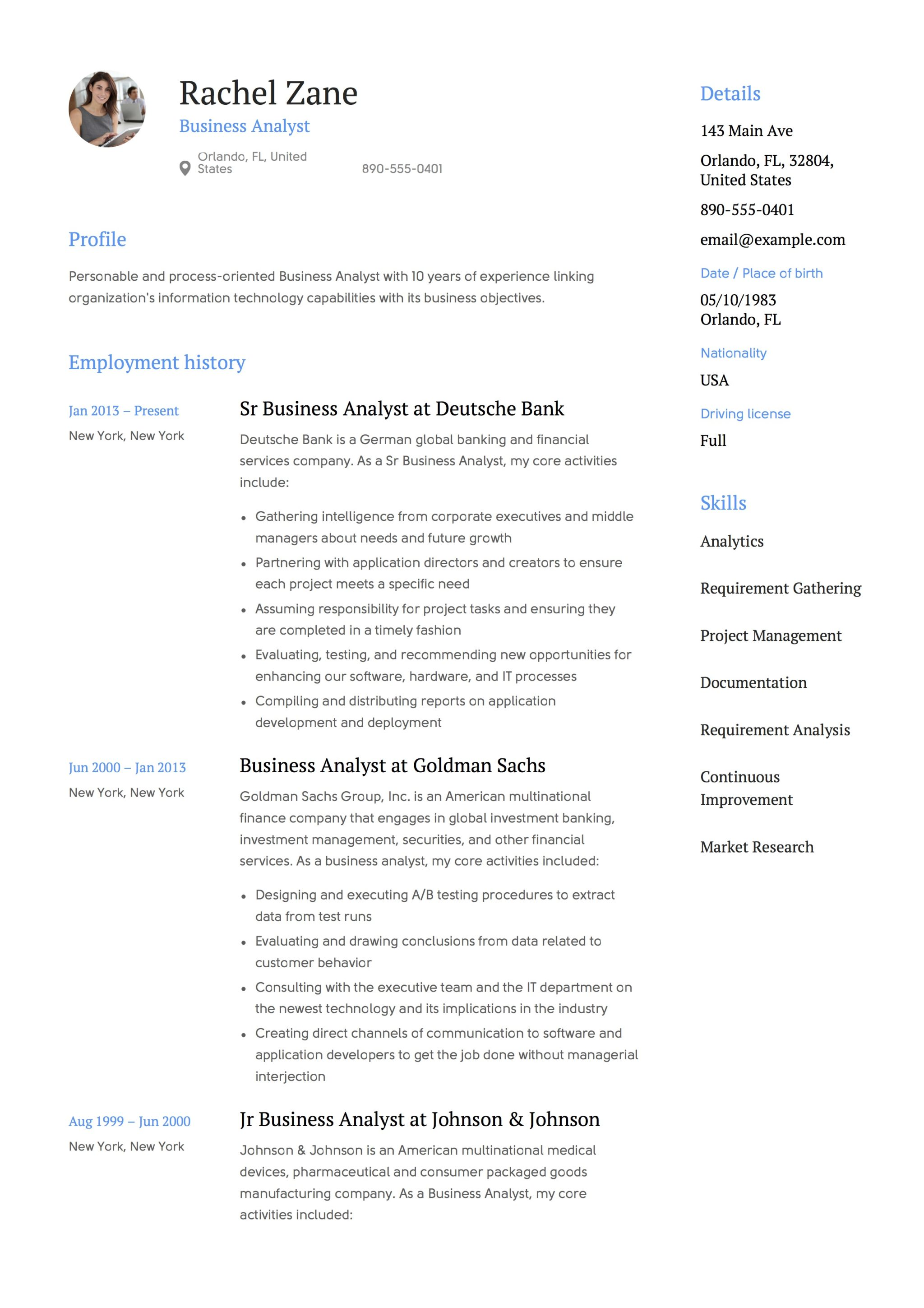 Resume Sample Business Business Analyst Resume Templates Staruptalent