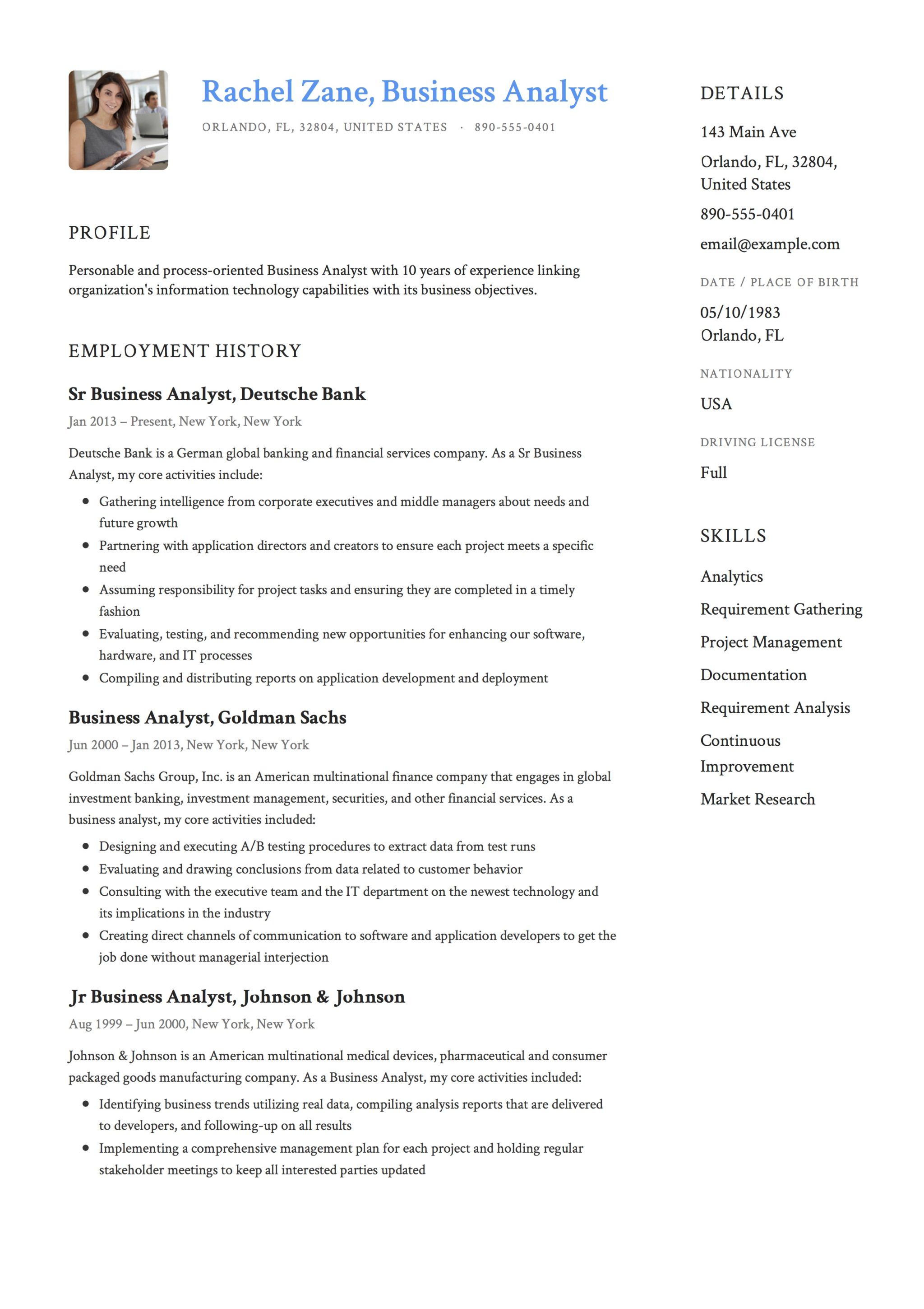 Resume For Business Business Analyst Resume Template Resumeviking