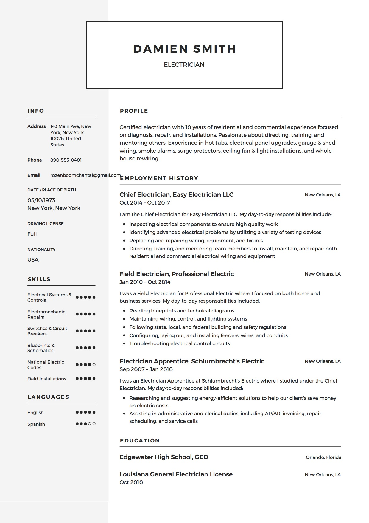 Samples For Resumes 12x Free Electrician Resume Template
