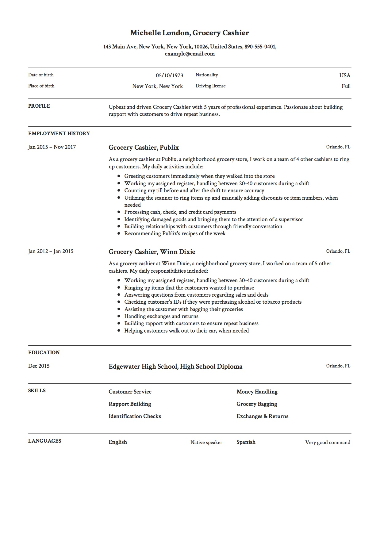 Cashier Job Experience Resume 12 Grocery Cashier Resume Sample S 2018 Free Downloads