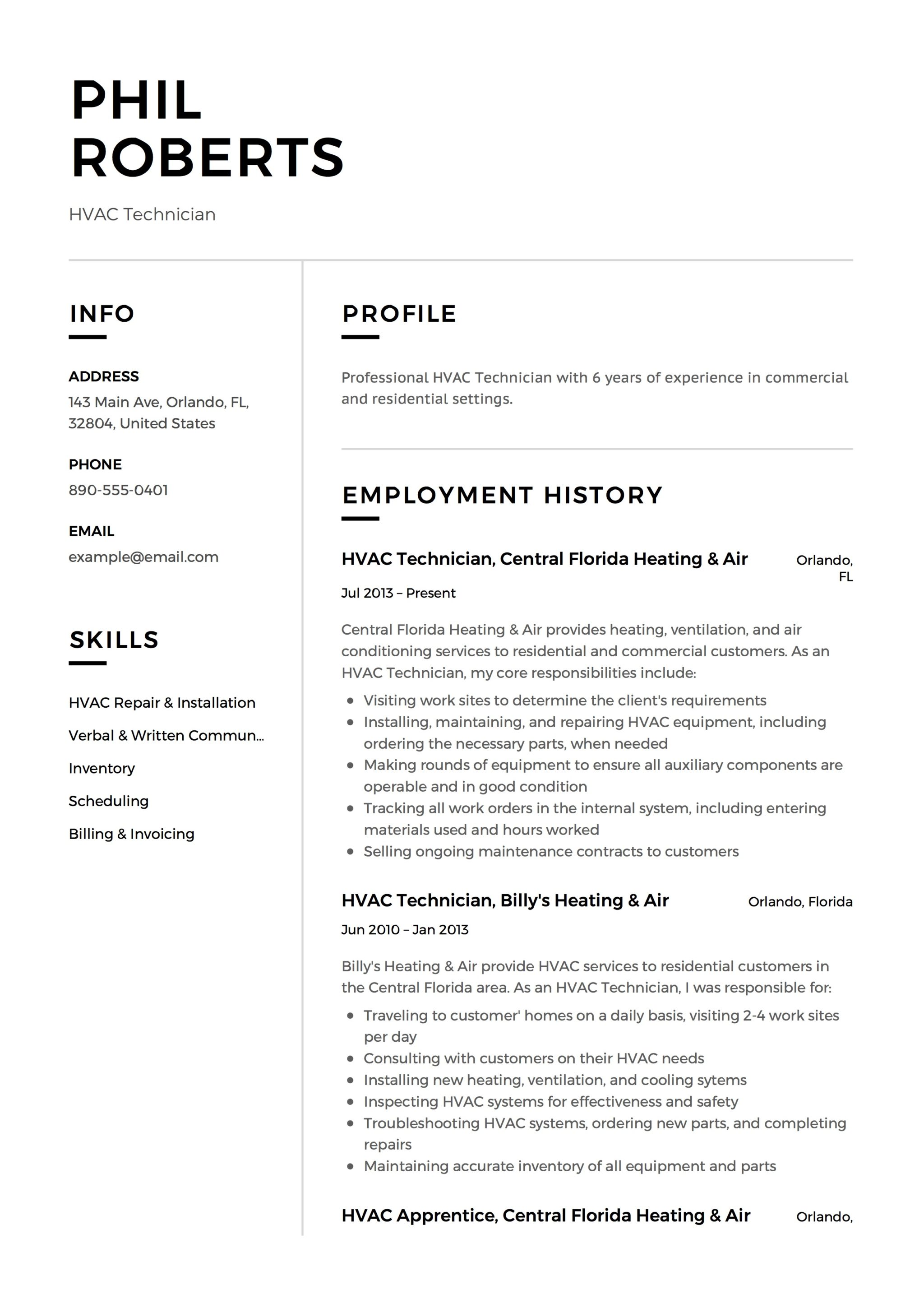 Example Resumes Hvac Technician Resume Resume 12 Samples Pdf Word 2019