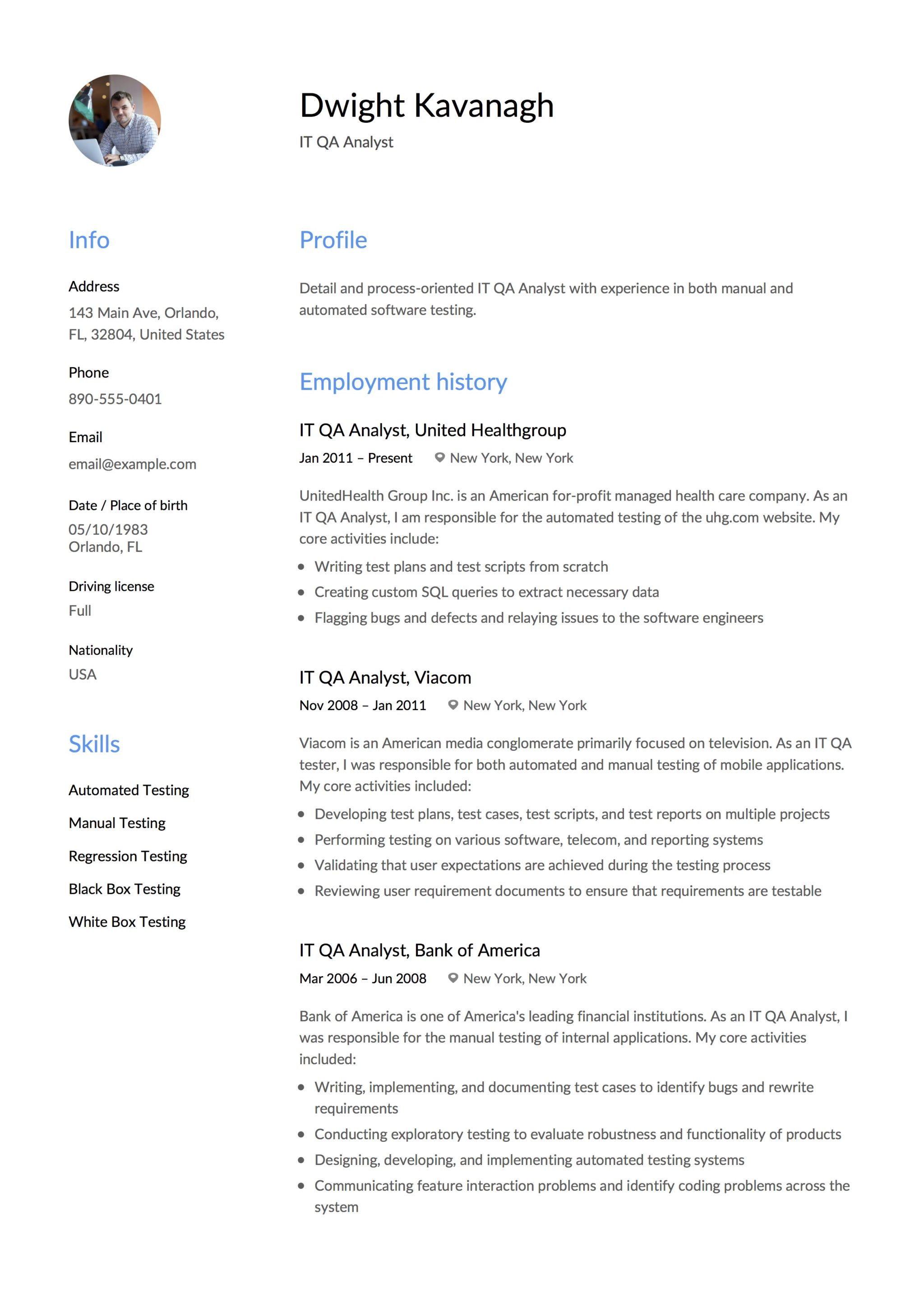 Software Quality Assurance Resume Sample Sample Qa Analyst Resume Resume For Quality Assurance