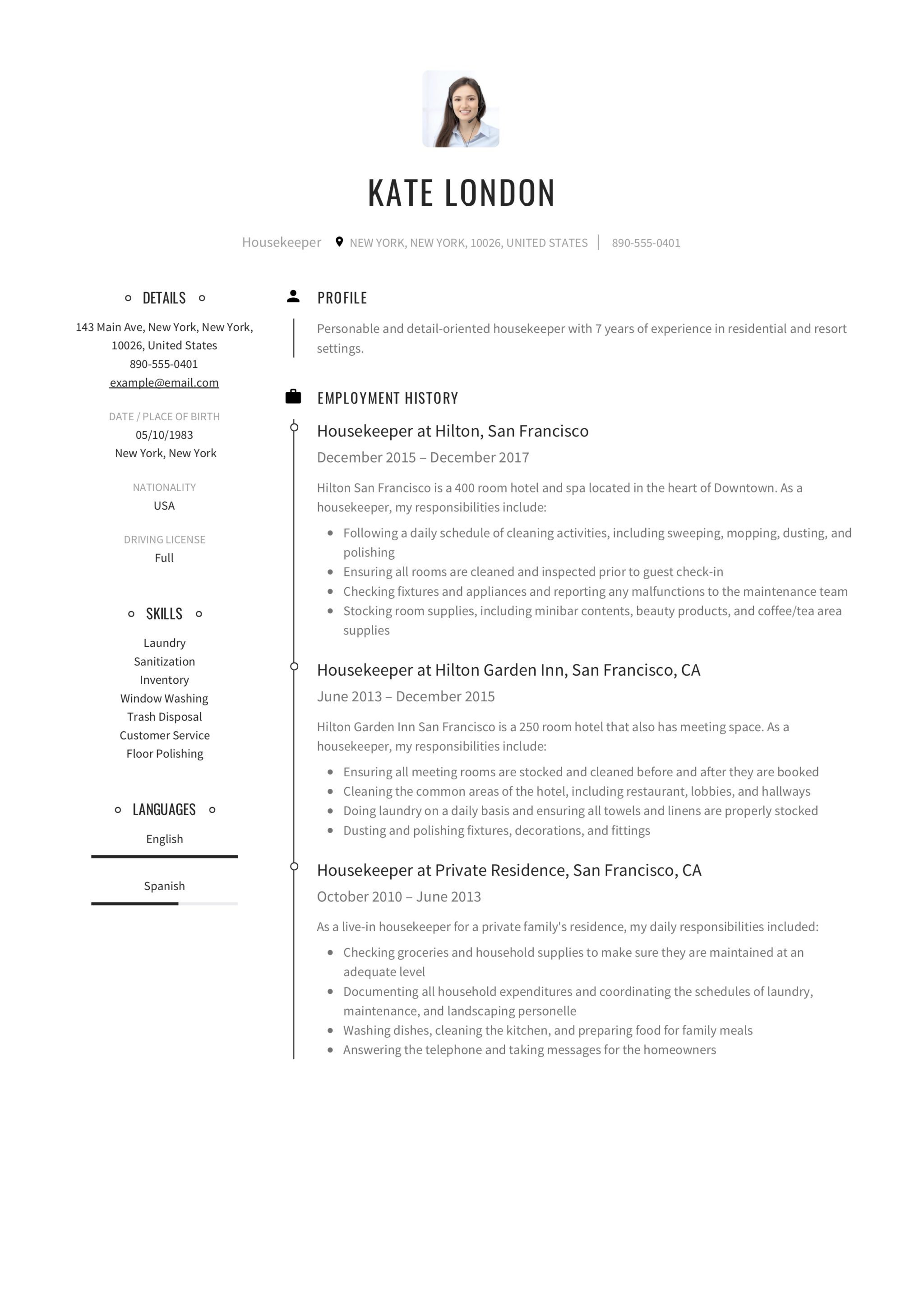 Housekeeping Resume Example Guide Housekpeer Resume 12 Samples Pdf Word 2019