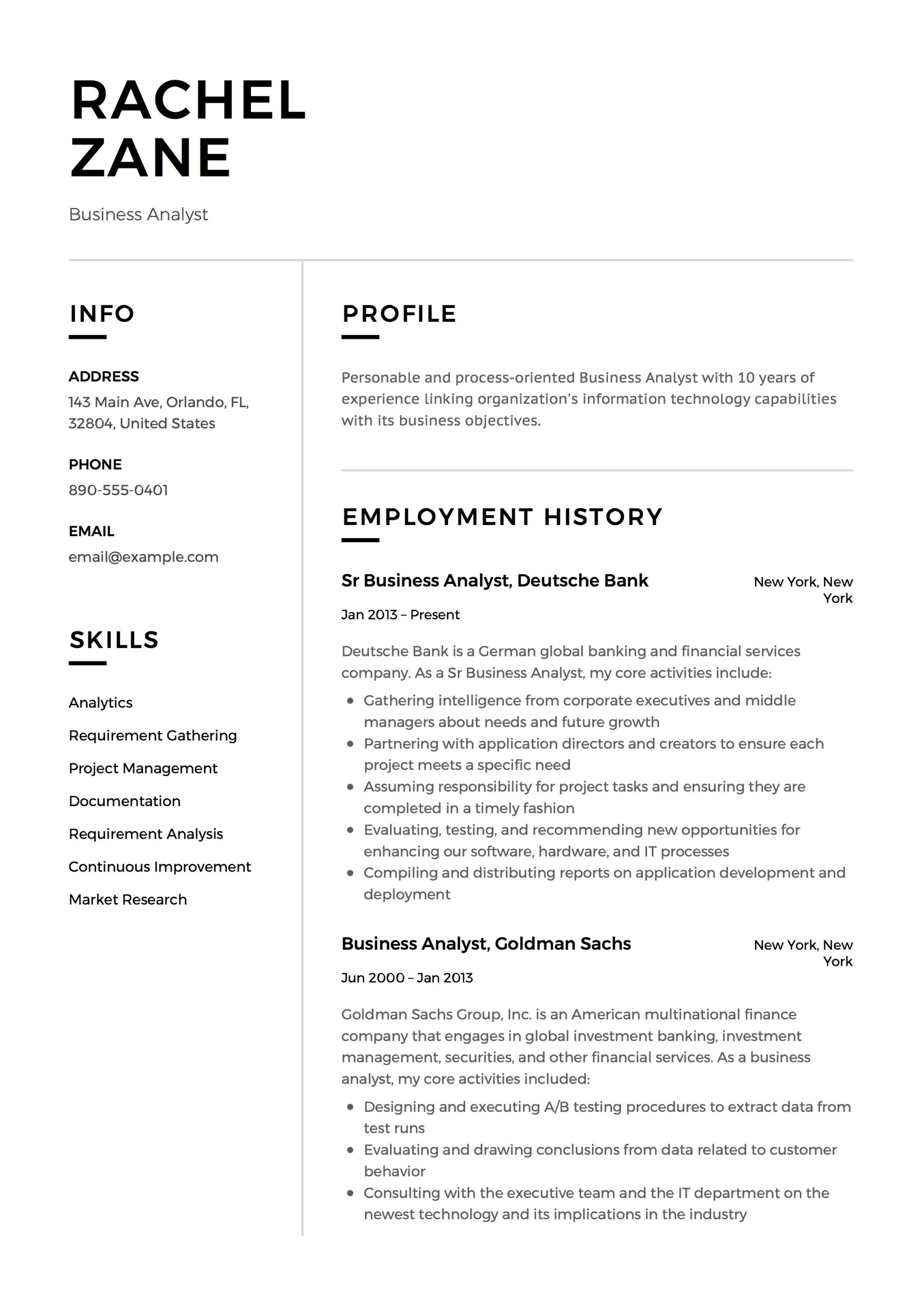 Business To Business Resume Rachel Zane Resume Business Analyst 11