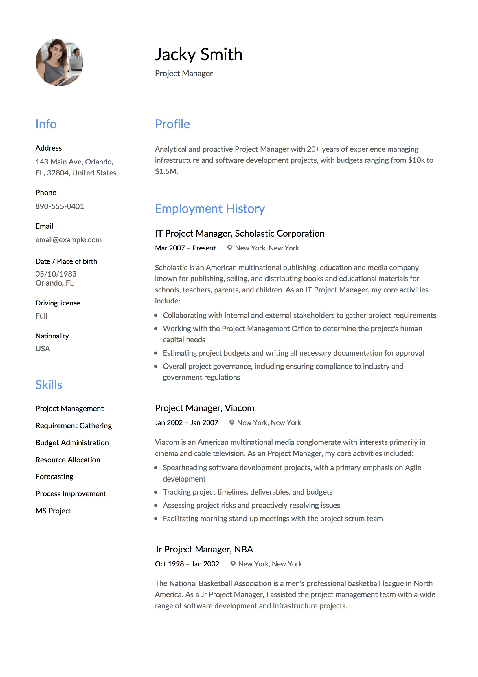 Resume Management Software Free Download 12 Project Manager Resume Sample S 2018 Free Downloads