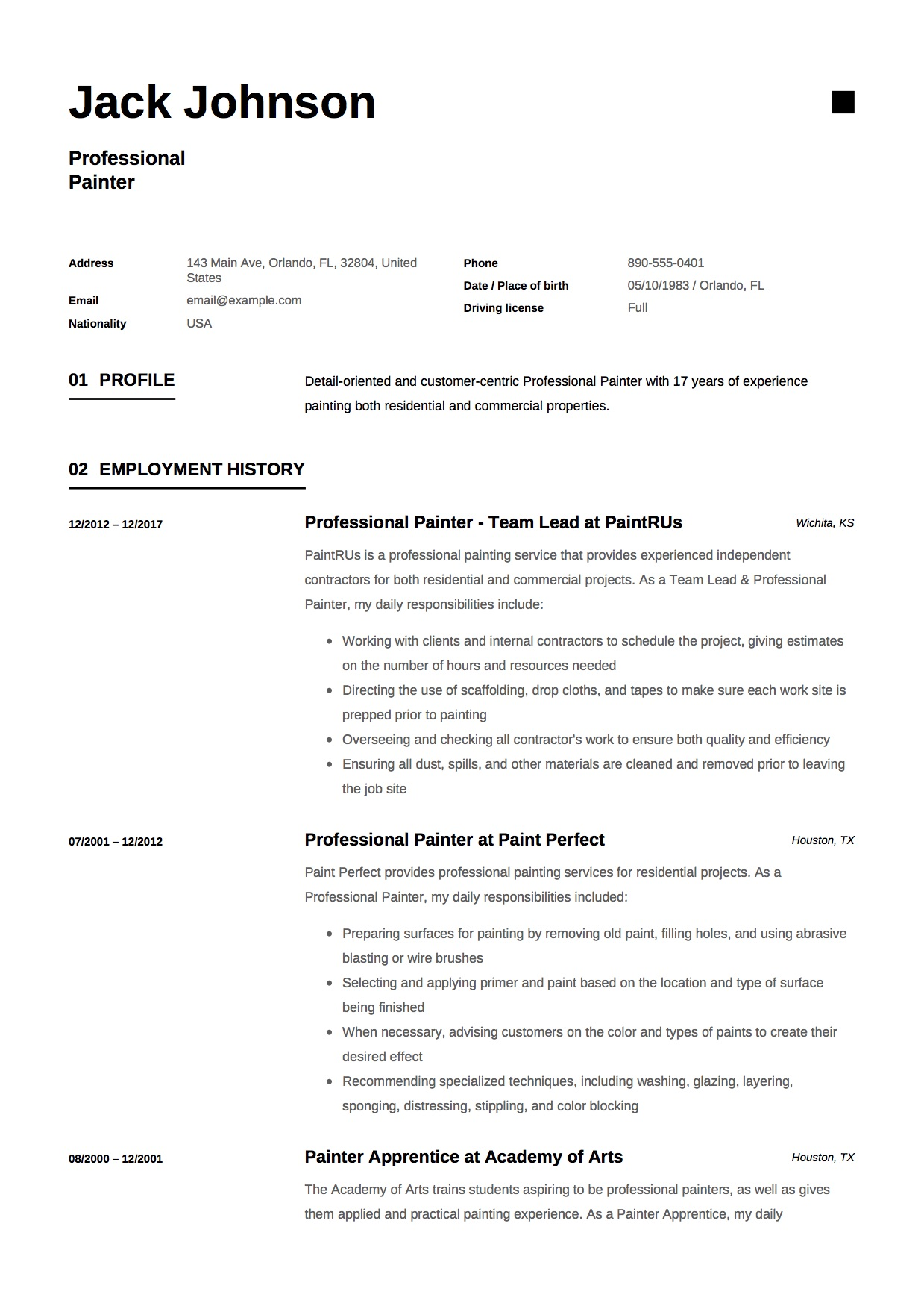 Resume Format For Professionals 12 Commercial Painter Resume Sample S 2018 Free Downloads