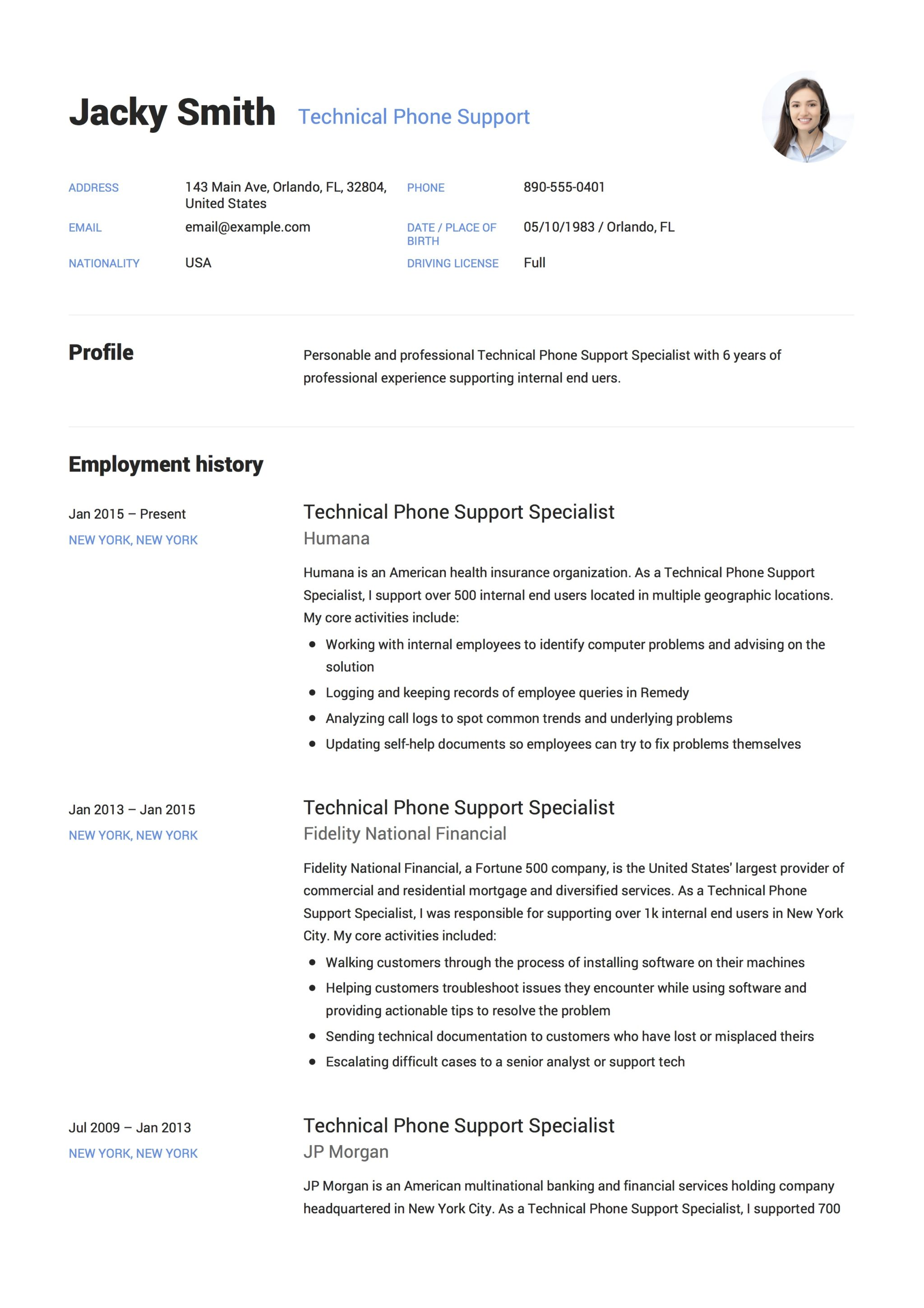 Technical Support Resume Sample 12 Technical Phone Support Resume Sample S 2018 Free