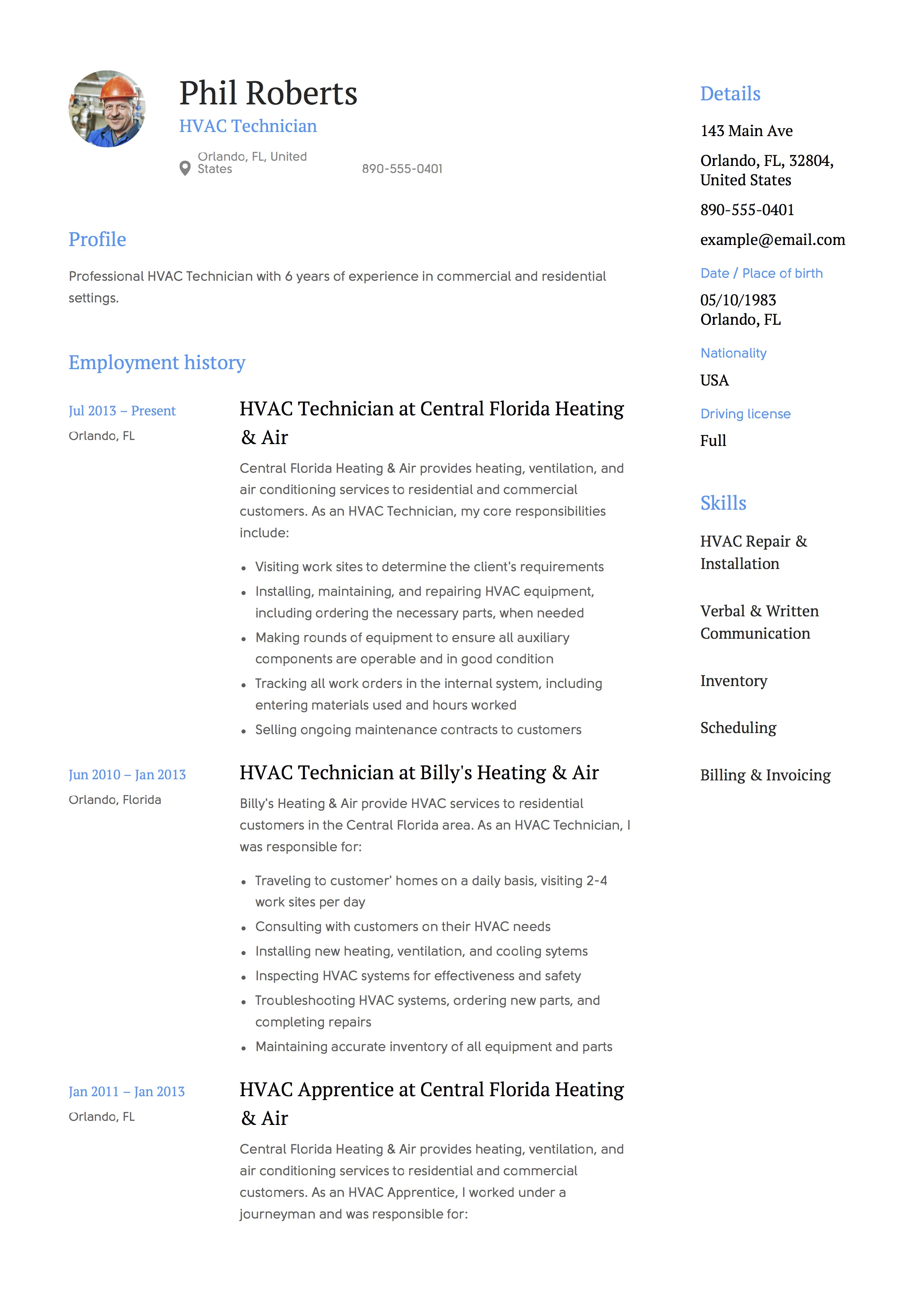 Hvac Sample Resume Hvac Technician Resume Sample Sarahepps